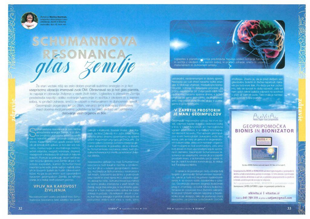Geo impulzi BIONIS so frekvenčna energija Schumannove resonance